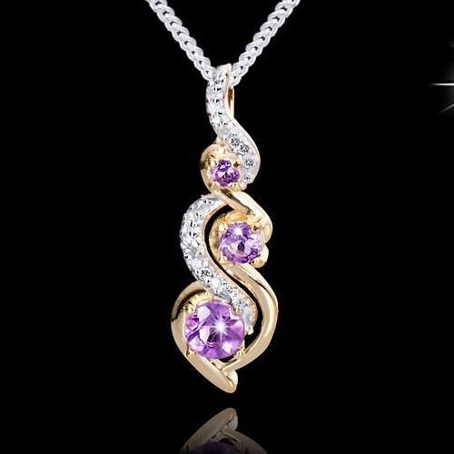 MATERIA-925-Silber-Ketten-Anhaenger-Amethyst-Diamanten-14k-Gold-teilvergoldet