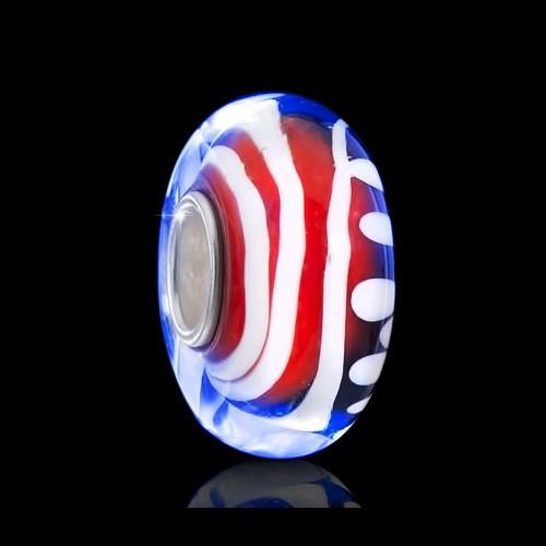 Materia 925 Silber Muranoglas Beads Rot Blau Weiß Element