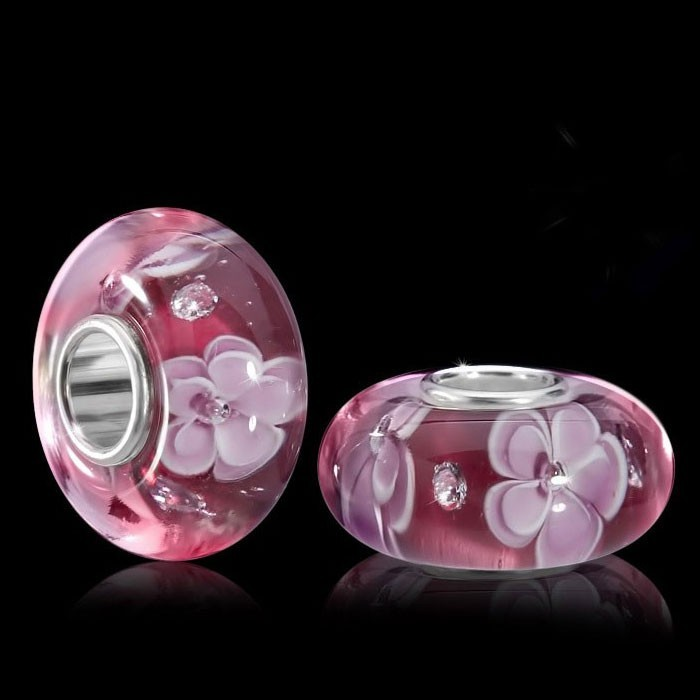 murano beads glas perle bl ten himbeer mit zirkonia. Black Bedroom Furniture Sets. Home Design Ideas